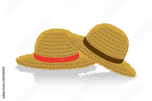 夏のイメージのイラストペアの麦わら帽子 Stock Image And Royalty