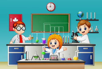 Kids doing experiment in the lab