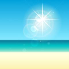 Sea and sun illustration background. Seascape blur vector backdrop.