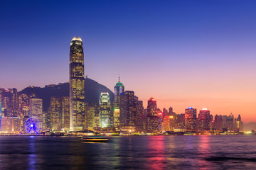 Hong Kong cityscape at twilight, Victoria harbour view