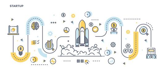 Flat Line Design Header - Startup
