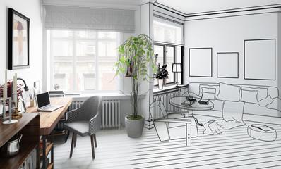 Wohnzimmer mit Einrichtung (Projektierung)