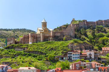Saint Nicholas Church in Narikala fortress. Famous landmark in Tbilisi, capital of Georgia country.