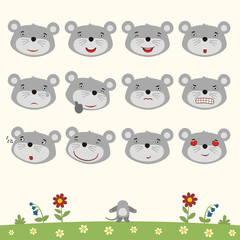 Emoticons set face of mouse in cartoon style. Collection isolated heads of mouse in different emotion and body on meadow with flowers.