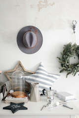 Interior elements and a hat on the wall