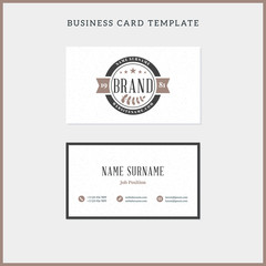 Double-sided vintage business card template with retro typographic logo and textured background. Vector illustration. Stationery design