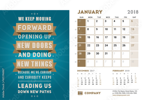 desk calendar template for 2018 year january design template with