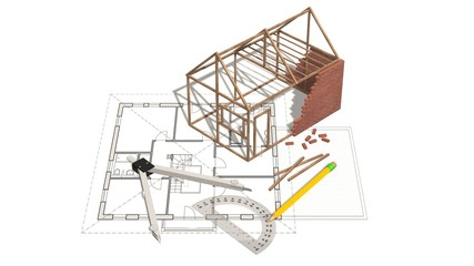 House project - house under construction on blueprint - concept for construction industry