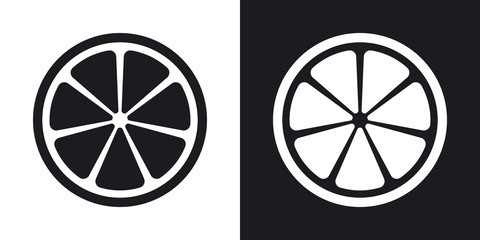 Vector citrus icon. Two-tone version on black and white background