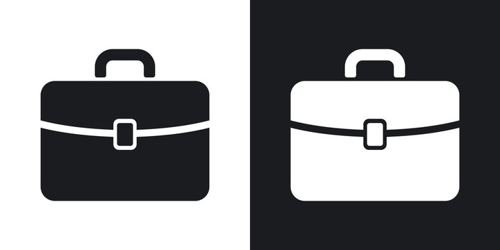 Vector briefcase icon. Two-tone version on black and white background