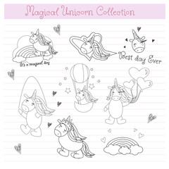 Hand drawn Unicorn collection in vector