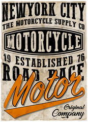Vintage motorcycle poster t shirt graphic design