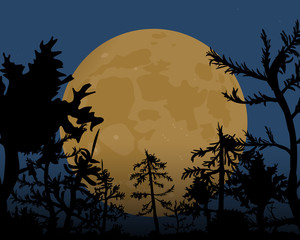 The night of Halloween. A big yellow moon in the sky.