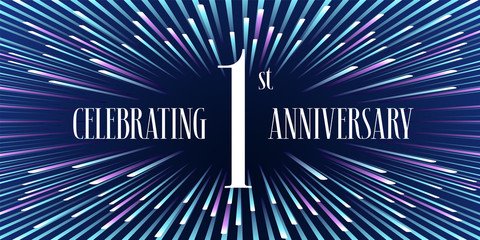 1 years anniversary vector icon,  banner. Graphic design element or logo with abstract background for 1st anniversary