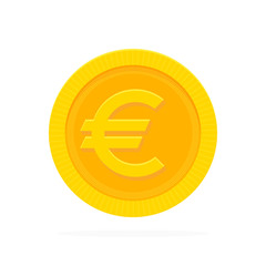 Gold euro coin in flat style. Vector illustration