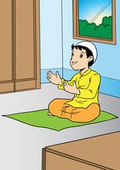 Asian boy praying