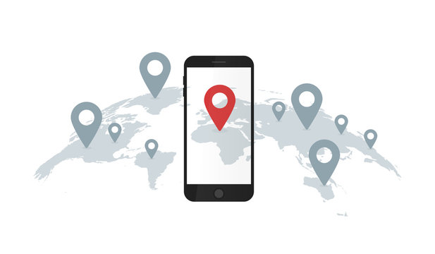 Smartphone and geolocation pin