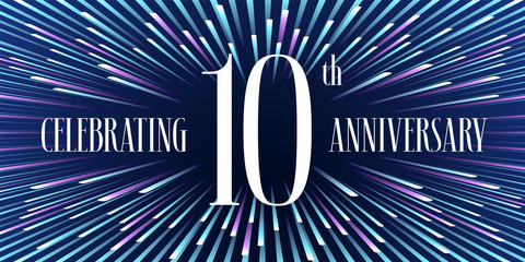 10 years anniversary vector icon, banner