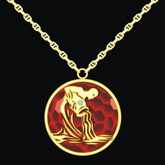 Ruby medallion on a chain with a aquarius