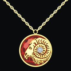 Ruby medallion on a chain with a aries