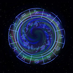 Zodiac signs around in outer space