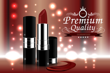 Fashion cosmetic lipstick ads with bokeh and red background