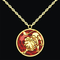 Ruby medallion on a chain with a lion