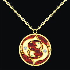 Ruby medallion on a chain with a pisces