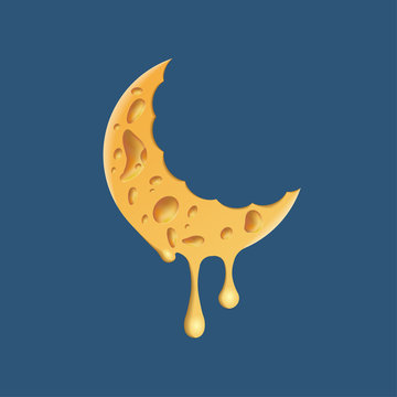 Cheese moon logo. Realistic cheese texture on a crescent symbol.