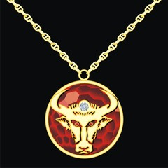 Ruby medallion on a chain with a taurus