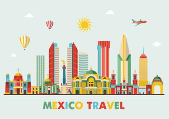 Mexico famous landmarks skyline. Vector illustration Papier Peint