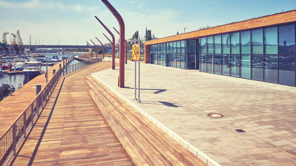 Yacht marina in Szczecin city, color toning applied, Poland.