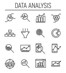 Set of 16 data analysis thin line icons.