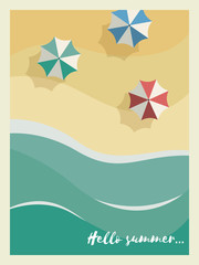 Summer holiday or party poster or postcard template with sunny sandy beach, sea with waves and umbrellas with vintage frame and typography.