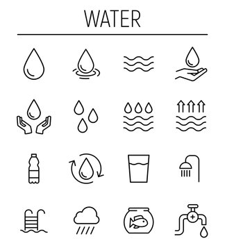 Set of water in modern thin line style.