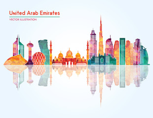 United Arab Emirates skyline detailed silhouette. Vector illustration
