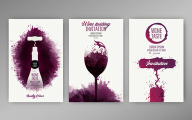 Design templates background wine stains. Suitable for promotions, brochures, tasting events, wine presentation or wine list. Vector