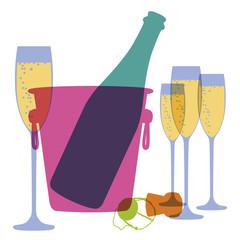 Champagne - symbole - fête - pictogramme - seau à glace - seau à champagne