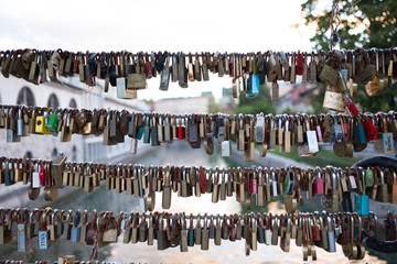 Padlocks on a bridge in Ljubljana Slovenia