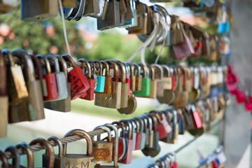 Padlocks on a bridge in Ljubljana Slovenia