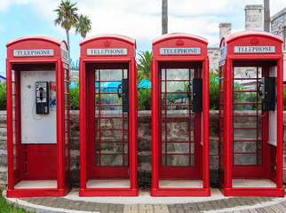 Four Red Phone Booths