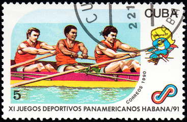 UKRAINE - CIRCA 2017: A postage stamp printed in Cuba shows Rowing from series 11th Pan American Games, circa 1990