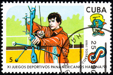 UKRAINE - CIRCA 2017: A postage stamp printed in Cuba shows Archery from series 11th Pan American Games, circa 1989