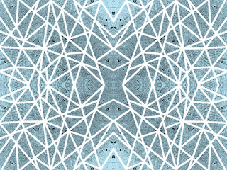 Abstract blue background with kaleidoscope effect. Ornamental pattern of white crossed lines. Symmetric spiderweb effect. For tech design of leaflets, covers, wallpapers, websites, textile, giftwrap