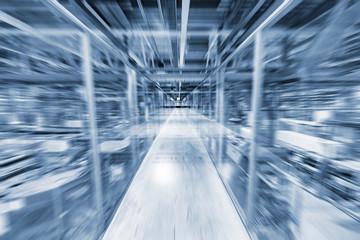 Blurred image of the transparent corridor.
