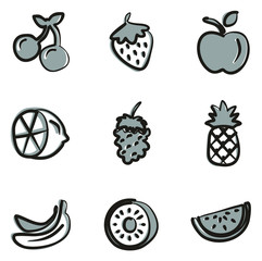 Fruit Icons Freehand 2 Color