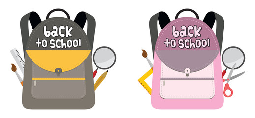 Back to school bag with school supplies set