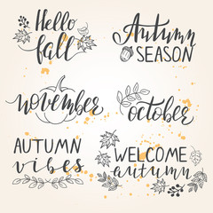 Hand lettered autumn season phrases