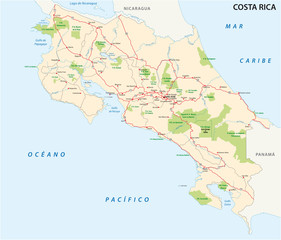 costa rica road and national park map