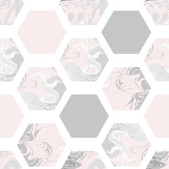 Seamless pattern with marble hexagons